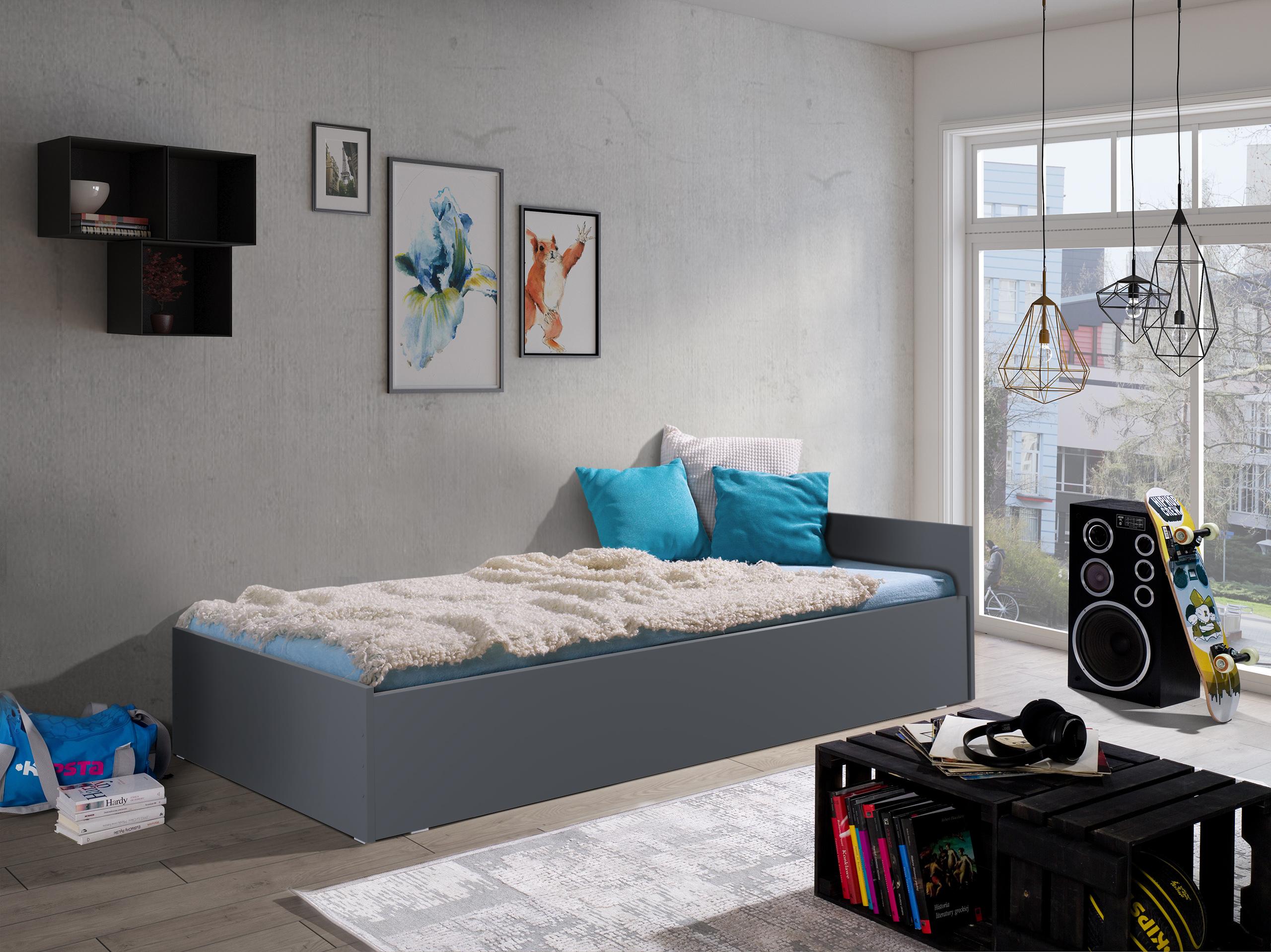 łóżko korekta szary